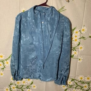 Vintage baby blue satin brocade pussy bow blouse